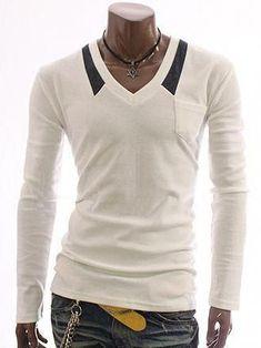 d11c98febe89 Long-Sleeve V-Neck Tee  MensFashionEdgy