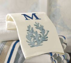 No longer available Coral Embroidered Guest Towels, Set of 2 | Pottery Barn