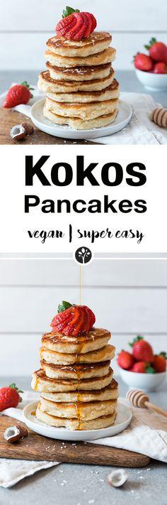 Super fluffige und einfache Kokosnuss Pancakes aus wenigen Zutaten. Finde das ganze Rezept auf www.eat-vegan.de // #kokos #pancakes #kokosnuss #frühstück #vegan #coconut #breakfast