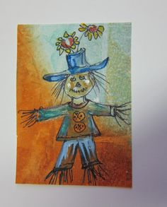 Scarecrow original watercolor painting ACEO by watercolorsNmore, $5.00