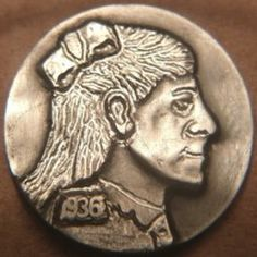 JOEY BLAYLOCK HOBO NICKEL - SCHOOLGIRL - 1936 BUFFALO PROFILE
