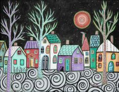 I love this.. <3 Starry Sky 14X11 Birds Cat Original Canvas Painting Abstract Folk Art Karla G | eBay