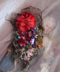 Victorian posy brooch - bold ornate brooch , antique lace, embroidered and beaded brooch, mixed media by FleursBoheme on Etsy https://www.etsy.com/listing/543578145/victorian-posy-brooch-bold-ornate-brooch