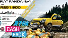 Don't be sad for the Lockdown. We've got R70 000 CASHBACK that will take away your Frown Fiat Panda, Back Pictures, 4x4, Monster Trucks, How To Apply, Cars, Autos, Car, Automobile