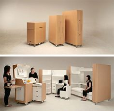 Kenchikukagu mobile furniture  Posted in Furniture by Conner Flynn on September 24th, 2008    Designed by Atelier OPA from Japan, the Kenchikukagu series includes a mobile work station, mobile bed and a mobile kitchen. You can actually order this on Amazon Japan for 800,000 Yen (about $7,500).