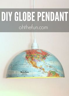 "DIY Globe Pendant - Maps and globes are all the rage in decor right now, so we are loving this easy, ""form meets function"" project! To make t..."