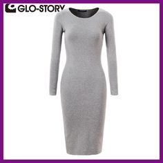 GLO-STORY Women Sweater Dress 2017 Elegant Chic Long Sleeve Knit Dress Sexy Party Bodycon Sweater Dresses WMY-2616