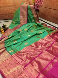Now make your wardrobe stay updated for every occasion with IndyVogue - your latest fashion stop to buy sarees online. For online saree shopping in India or USA give us a call. Banaras Sarees, Silk Sarees, Saris, Seafoam Color, Pink Color, Katan Saree, Saree Shopping, Buy Sarees Online, Saree Collection