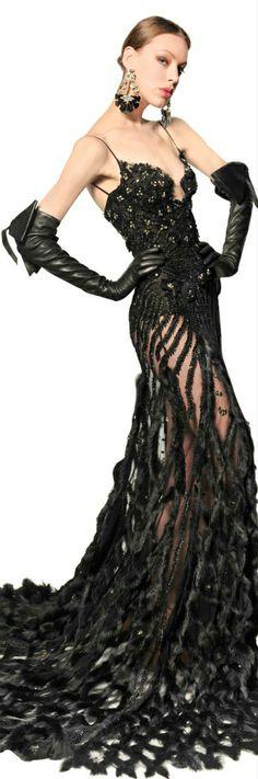 Dsquared² Rabbit Trim Swarovski Tulle Long Dress