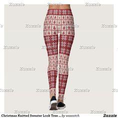 Christmas Knitted Sweater Look Tree Snowflakes Leggings