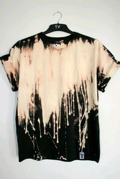 top shirt t-shirt diy diy grunge orange painted used look grunge-like ombre bleach dye paint splash tie dye shirt black tumblr shirt bleach dyed