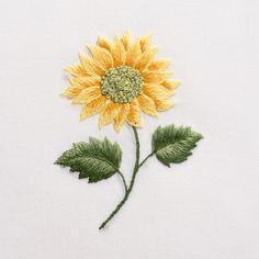 Sunflower<br>Hand Towel - White Cotton