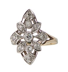 Edwardian diamond ring in platinum & 14k gold by SearchEndsHere