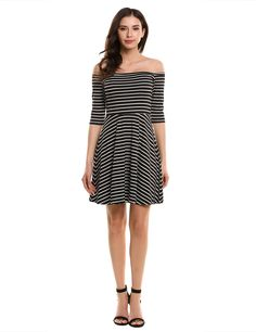Womens Off the Shoulder 3/4 Sleeve Striped Casual Pleated Dress
