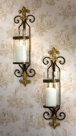 - Fleur De Lis Rain Glass and Brass Medallion Wall Sconce, Set of 2 - Candle Holders Brass Candle Holders, Candle Wall Sconces, Interior Design Basics, Flickering Lights, Tuscan Style, Candle Lanterns, Burning Candle, Candlesticks, Lamp Light