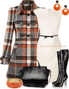 """Yumi Check Duffle Coat & Leather Boots"" by casuality on Polyvore"