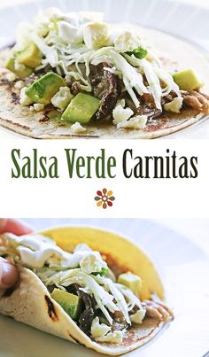 Salsa Verde Carnitas! Pork shoulder slow cooked in tomatillo salsa verde sauce, then shredded and crisped in the oven. Great for tacos and burritos!  On SimplyRecipes.com