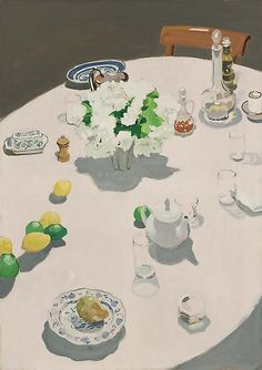 """Dinner Table [Table at Night],"" Fairfield Porter, oil on canvas, x Michael Rosenfeld Art. Fairfield Porter, Figure Painting, Painting & Drawing, Potrait Painting, Michael Borremans, Digital Museum, Canadian Art, Painting Still Life, Contemporary Paintings"