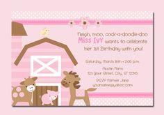 Girl Pink Farm Animal Barn Personalized Birthday Invitations - UPRINT on Etsy, $10.00