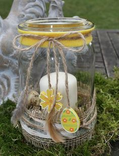 Mason Jar: Easter decoration made by myself / Photo: © Ursula Thome Jar Crafts, Easter Crafts, Holiday Crafts, Diy And Crafts, Diy Projects Glass Jars, Wine Bottle Centerpieces, Easter Peeps, Paper Roll Crafts, Decorated Jars