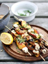 Grilled Halloumi and Peaches with Dukkah - My New RootsMy New Roots