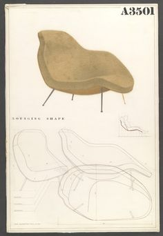 "Competition Drawing for a Lounge Chair  Charles Eames (American, 1907–1978) and Eero Saarinen (American, born Finland. 1910–1961)    1940. Pencil on white poster board covered with cellophane, 30 x 20"" (76.2 x 50.8 cm). Gift of the designers"