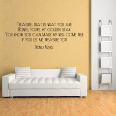 Treasure Wall Sticker Bruno Mars Wall Art