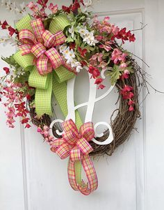 Monogram Wreath- Spring Wreath-Summer Monogram Wreath- Sassy Doors Wreath- Wreath for Front Door-Spring Wreath- Wreath With Initial- Spring Wreath With Monogram- Wedding Gift- Bridal Shower Gift- Mother.s Day Gift- Gifts For Her- Door Wreaths Designed on a 18 Grapevine Wreath and