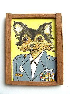 OOAK 1/12 Escala Casa De Muñecas Miniatura Pintura - ' Perros de Guerra ' - Chihuahua Pintura - 2nd Lieutenant Chihuahua
