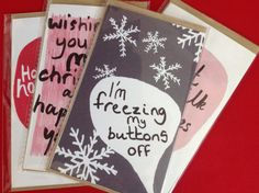 Christmas Greeting Cards 14x9cm in Various Designs by AbbeyMassey, £1.50 Each or £5 for 4