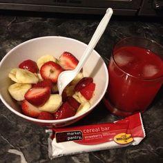 Healthy Mid-Night Snack #strawberries #bananas #granolabar #juice #healthy #snack