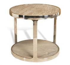 """• Item #: 129097 • Dimensions: 20""""h x 22"""" diam • Unit: EA • Material: reclaimed wood/ stainless steel • Finish: natural/ polished"""