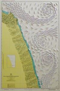Dalla foce del Tronto ad  riccardo GusmaroliAncona, 2016, 113x75 cm, barche di carta su carta nautica