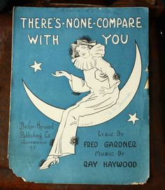 Sale Crescent Moon Swingng Pierrot Clown Vintage Sheet Music Illustration. $3.00, via Etsy.