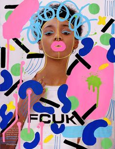Illustration on Hannah Shakespeare shot by Campbell Addy  #illustration #fashion #art