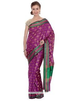 Rich look attire to give your a right choice for any party or function. All of this accenting the feminine beauty and with this magenta art silk traditional  saree. This attire is beautifully adorned ...