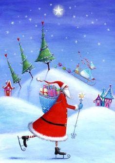 Skating santa artist Illustration by www.MilaMarquis.com and www.Facebook.com/MilaMarquisillustration