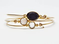 3PC Stackable Set - Black Druzy/Clear Quartz/Grey Chalcedony 14K Gold Filled Bangle Bracelet