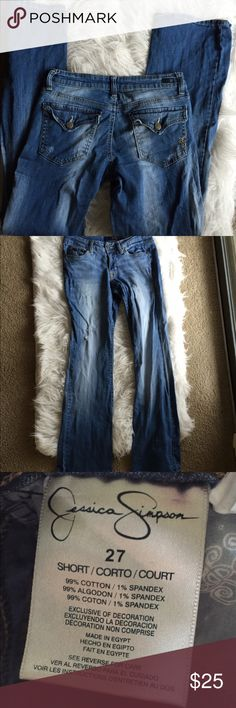 🆕 Jessica Simpson jeans Super cute! Preloved but lots of life left! Cotton and spandex blend. 👺NO TRADES DONT ASK! ✌🏼️Transactions through posh only!  😻 friendly home 💃🏼 if you ask a question about an item, please be ready to purchase (serious buyers only) ❤️Color may vary in person! 💗⭐️Bundles of 5+ LISTINGS are 5️⃣0️⃣% off! ⭐️buyer pays extra shipping if likely to be over 5 lbs 🙋thanks for looking! Jessica Simpson Jeans