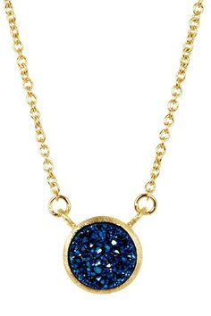 18K Gold Clad Electric Blue Druzy Station Necklace by Something Blue: Jewelry Event on @HauteLook
