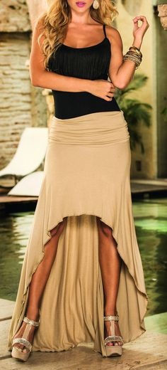 """""""Mocha Convertible Dress  ♥ {can be worn as a dress or skirt}"""" love the wedges"""