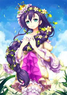 1girl braid crown dress flower green_eyes hair_flower hair_ornament highres long_hair love_live!_school_idol_project purple_hair single_braid smile solo toujou_nozomi
