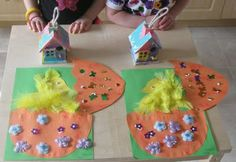 Chicks craft and bird house art