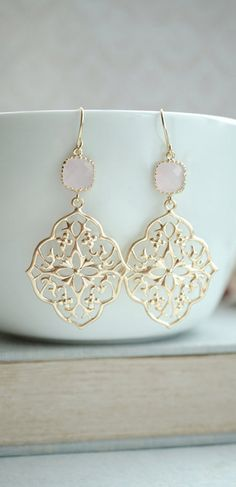 Pink Filigree Chandelier Earrings, Light Soft Pink, Opal Pink Gold Plated Glass…