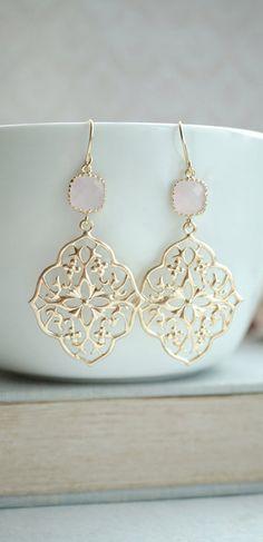 Large Moroccan Gold Filigree Chandelier Dangle Earrings ...