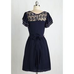 Vintage Inspired Mid-length Short Sleeves A-line Indie Darling Dress ($48) ❤ liked on Polyvore featuring dresses, bohemian lace dress, short sleeve dress, blue a line dress, see through dress and lace a line dress