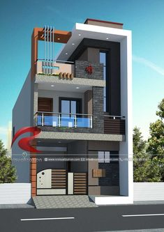 Narrow House Designs Gallery & Visualization Structural Plan and Elevation Designing – Home decoration ideas and garde ideas House Outside Design, House Front Design, Small House Design, 3 Storey House Design, Bungalow House Design, Duplex Design, Narrow House Designs, Village House Design, House Design Pictures