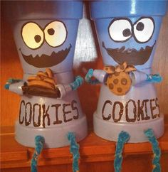 Hey, I found this really awesome Etsy listing at https://www.etsy.com/listing/216154526/cookie-monster-clay-pot-shelf-sitters