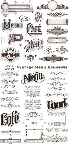 Векторный клипарт - Элементы для оформления меню в винтажном стиле
