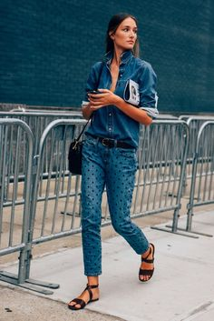 street style - double denim - spotted denim jeans - chambray shirt